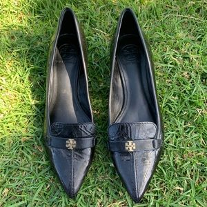 Tory Burch Patent Leather Pointed Toe Kitten Heels